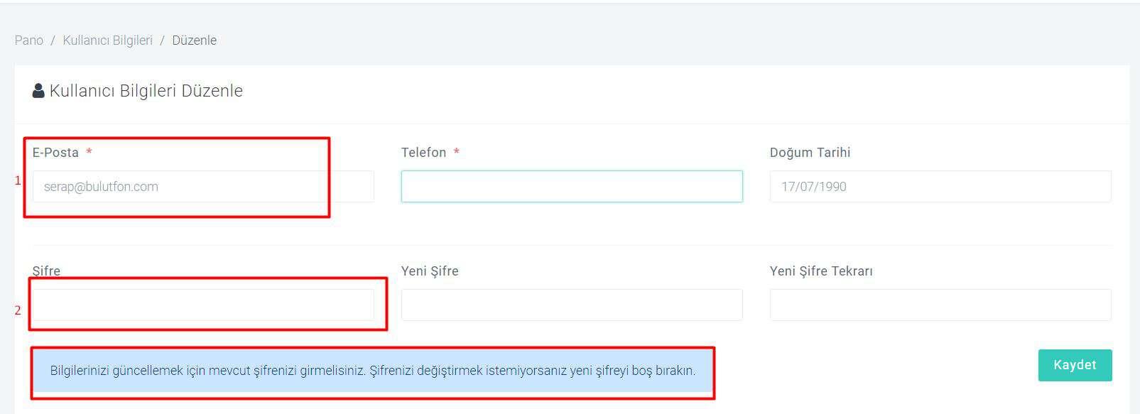 Bulutfon'da kayıtlı olan e-posta adresimi nasıl değiştirebilirim? 2