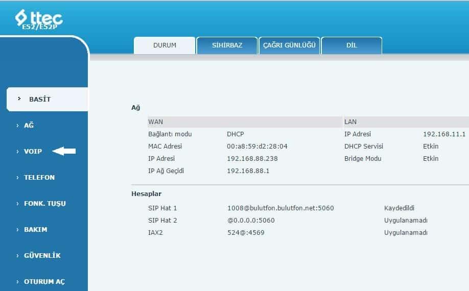 TTec E52 IP Telefon Kurulumu Ve Ayarları 5