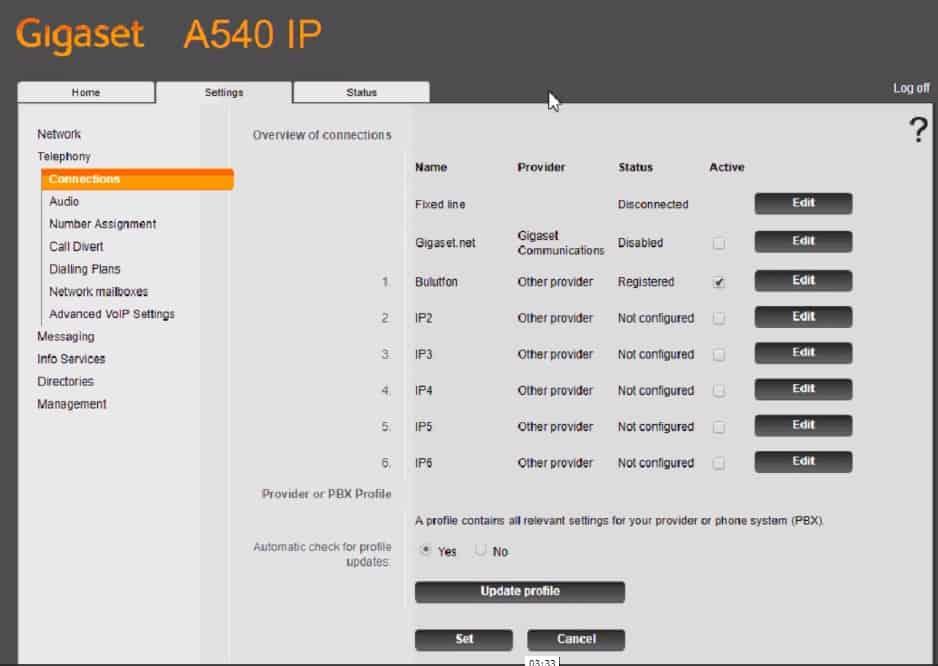Gigaset A540IP Kayıt durumu