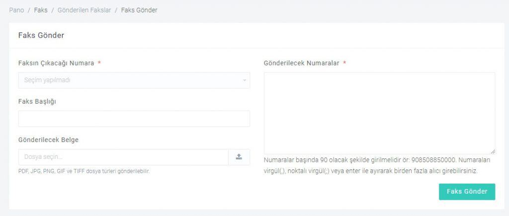 Bulutfon Sanal Santral Kullanıcı Panelinden Faks Gönderimi