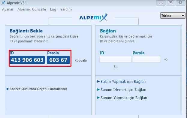 Alpemix uygulaması ile uzaktan bağlantı kurulumu 1