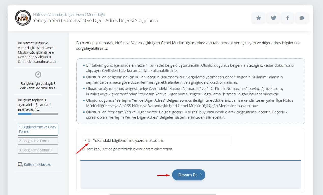 E-devletten İkametgah belgesi alınması 1