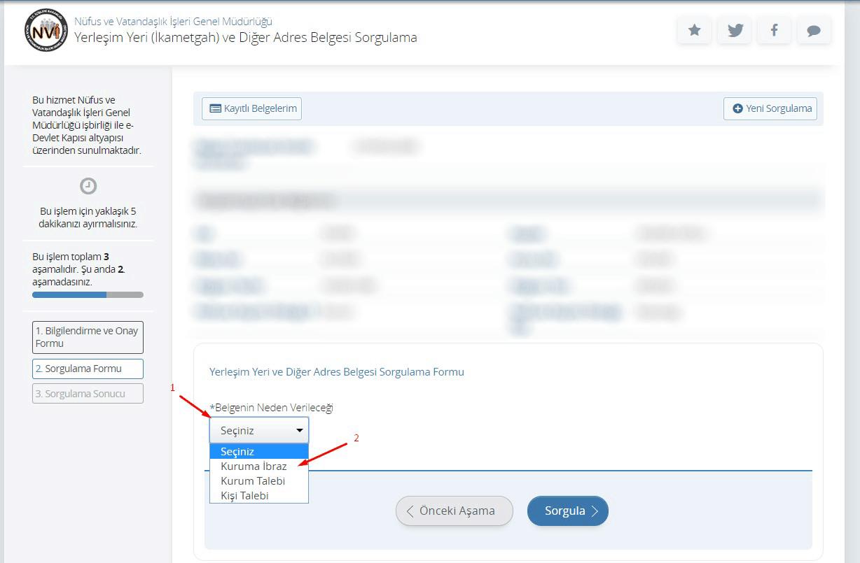 E-devletten İkametgah belgesi alınması 3