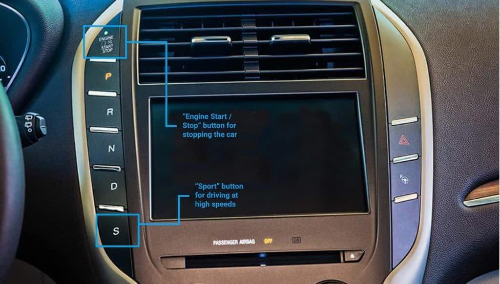 Lincoln otomobilin Start/Stop buton yerinin son tasarımı