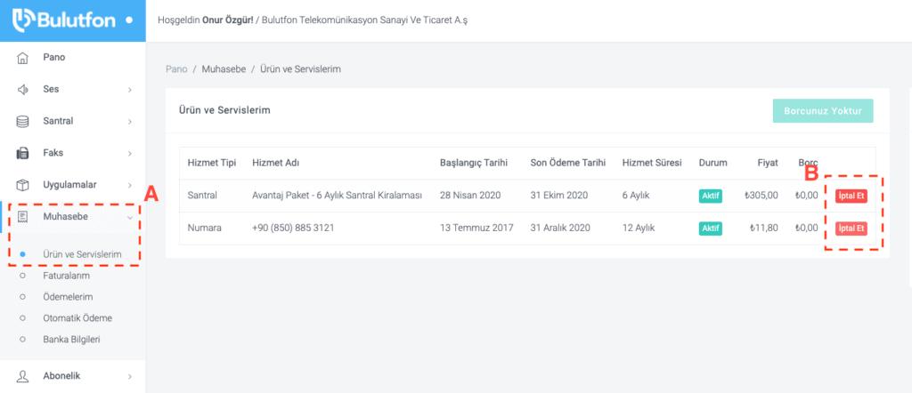 Bulutfon Ürünler ve Servislerim sayfası